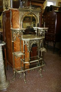 SOLID BRASS BRONZE GREEN ONYX BEVELED GLASS ETAGERE HALL TREE STAND
