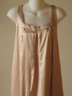 Anthropologie Graham Spencer Pink Silk Pleated Trapeze Shift Dress L