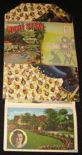 Hollywood Stars Homes 1940 Postcard Packet Shirley Temple Judy Garland