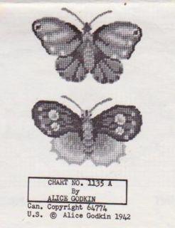 Vtg Alice Godkin Butterflies Petit Point Chart 1135A