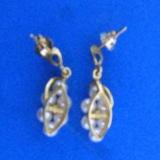 Pearl Grapes Earrings 14k Yellow Gold 2 6g 20mm
