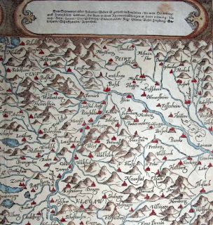 1588 (1614) Münster (Petri) Map SWITZERLAND Pictorial Topography
