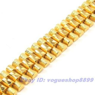 14mm GRAND MEN 18K YELLOW GOLD PLATED BRACELET SOLID FILL GP CHAIN
