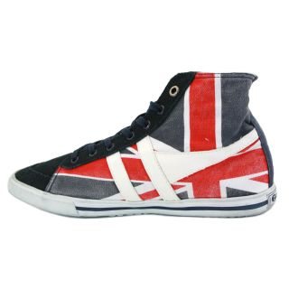 Gola Quota Union Jack High Unisex Laced Canvas Suede Trainers Navy