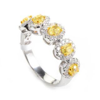 Lovely 18K White Yellow Gold Diamond Band Ring