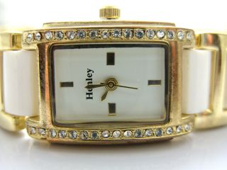 Henley Diamante Watch Gold White Band White Face New Design H392