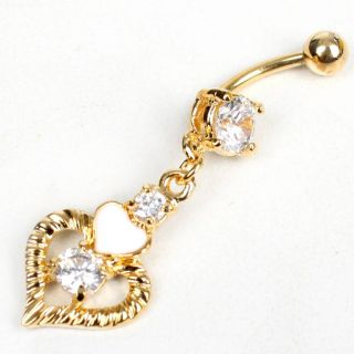 Heart Gold Clear Body Jewelry Crystal Navel Piercing Belly Button Ring