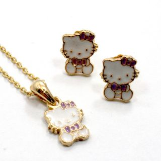 Gold 18K GF Baby Girl Childs Bow Hello Kitty Earrings Pendant Charm