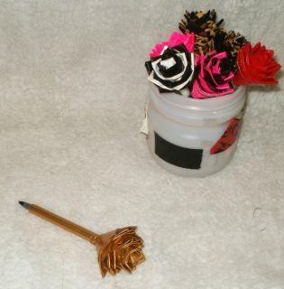 New Duct Duck Tape Flower Pen Gold Leopard Pink Red Rose Black BIC Pen
