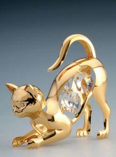 Cat 24K Gold Plated Figurine Swarovski Crystal