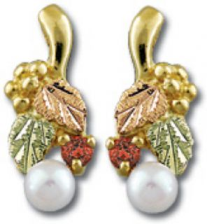 Black Hill Gold Earrings Leaves w Grapes Ruby Pearl