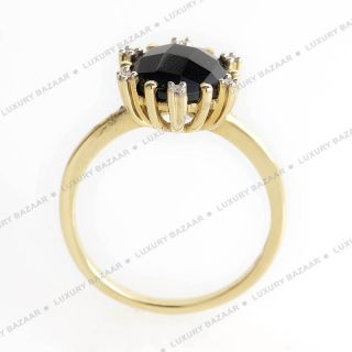 14k Yellow Gold Faceted Onyx and Diamond Ring