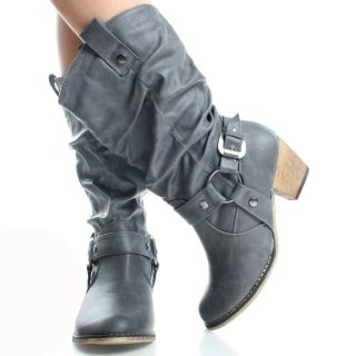 Gray Cowboy Slouch Western Buckle Womens High Heel Mid Calf Boots Size