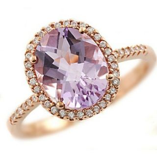 Natural Pink Amethyst Diamonds 14k Rose Gold Cocktail Ring