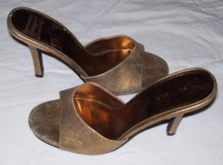 Chinese Laundry Antique Gold Metallic Slides Heels Leather Shoes Sz 7