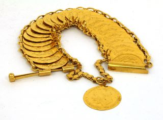 Solid Yellow Gold Ladies Hefty Sovereign Coin Style Bracelet