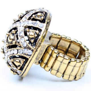 Egyptian Design Black Gold Pattern Rhinestone Stretch Ring