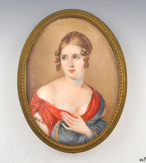 French Hand Painted Antique Portrait on Bone Oval Brass Frame C 1800s