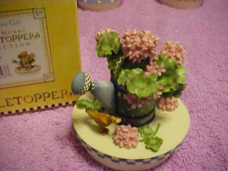 Candle Topper Debbie Mumm Pink Geraniums 8023 Never Used Box