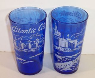 Vintage Cobalt Atlantic City 12oz Flat Tumblers