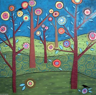 Trees and Birds 8x10 Canvas Folk Art Giclee Print Karla Gerard
