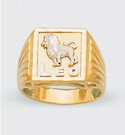 Mens Solid 14k Two Tone Gold Zodiac Ring Leo