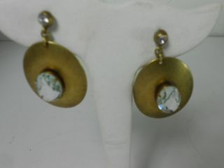 Gerard Yosca Oval Brass Swarovski Crystal Drop Earrings N HB Pouch $