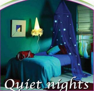 Glow in The Dark Blue Mosquito Net Bed Canopy 10 Stars