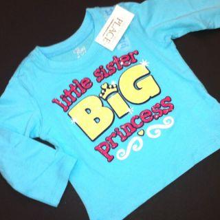 New Little Sister Big Princess Baby Girls Shirt 12 24 Months 3T 4T