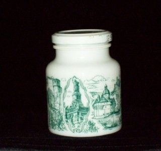 Hengstenberg German Green Castle Milk Glass Mustard Jar