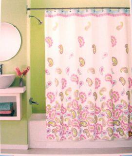 Peri Graphic Paisley Fabric Shower Curtain New