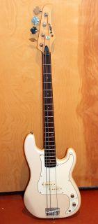 Vintage 1970s Matsumoku Lotus Precision 4 String White Bass Guitar