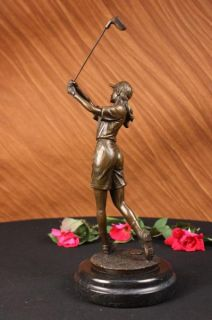 Bronze Signed Female Golfer Bronze Statue Figure Sculpture Figurine