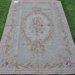 French Aubusson Floral Roses Design Wool Needlepoint Green Rug