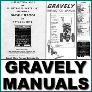 GRAVELY Model L SERVICE Repair Manual, PARTS IPL, Operators USER  174