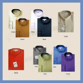 New Mens Classy Casual Dress Shirt Mandarin Collar Hidden Button M 01