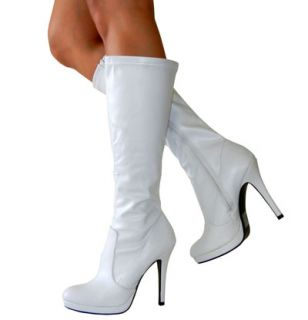 Sexy Club Wear Stretched Knee High Platform GoGo Boots White