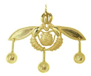 Greek Jewelry Minoan Malia Bees Sterling SILVER24K Gold Plated Pendant