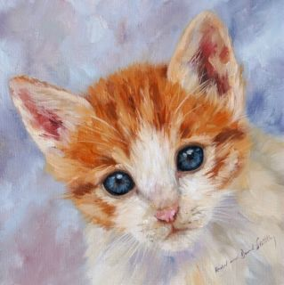 Greek Kitten Original Rachel Stribbling Oil Painting