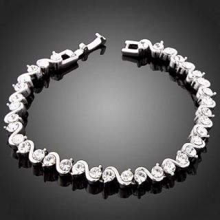 Swarovski Crystal s Design White Gold GP Bracelet Chain