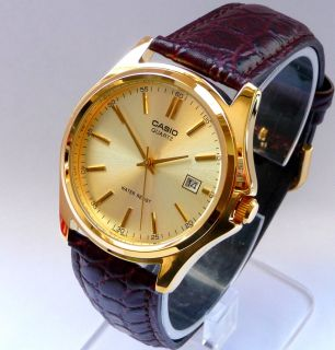 Casio Gold Round Dial with Date Mens Gold Watch 5