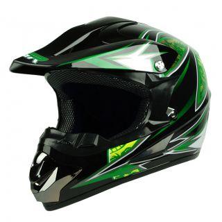 Black Green Dirt Bike Buggy ATV Off Road B MX MX DOT Helmet ~ Youth M