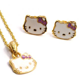 Gold 18K GF Girl Baby Kids Purple Bow Hello Kitty Earrings Pendant