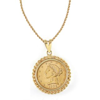Gold $5 Liberty Gold Piece Half Eagle Coin Rope Bezel Pendant Necklace