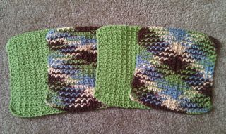 Handmade Crocheted Dishcloths Washcloths Green Brown Off White Blue