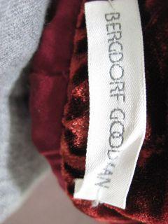 Bergdorf Goodman Burgundy Velvet Boot Cut Pants Slacks