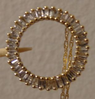14k Yellow Gold Diamond Baguette Circle Pendant