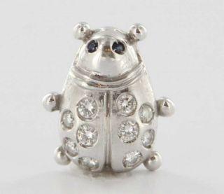 18K White Gold Diamond Ladybug Slide Pendant Fine Jewelry