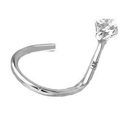 White Gold Nose Screw Ring Stud Bone Pin Real Diamond