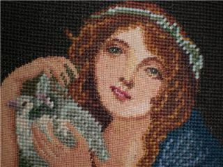 Completed Needlepoint Canvas Tapestry Girl with Doves